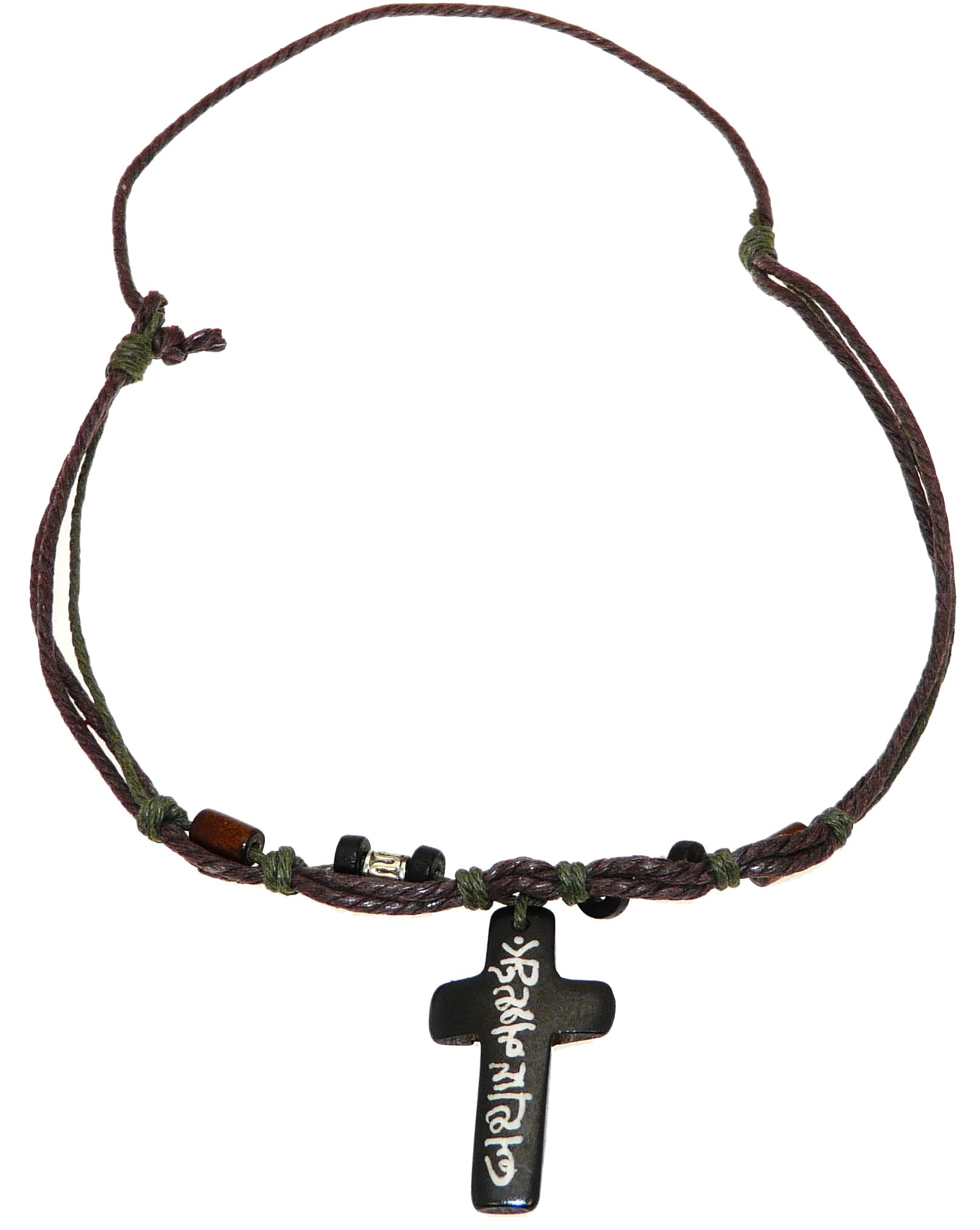 surf surfer ethnic cord necklace with carved bone cross